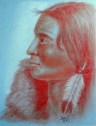Indian Pastels Prints - Indian Brave Profile Print by John De Young
