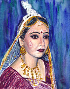 Indian Wedding Paintings - Indian Bride  by Clara Sue Beym