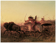 Fine American Art Posters - Indian Buffalo Hunt Poster by Charles Wimar