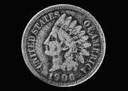 Coins Digital Art - Indian Cent Coin Black and White by Randy Steele