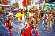 Main Street Mixed Media Prints - Indian Ceremonial Dance - 2002 Winter Olympics Print by Steve Ohlsen