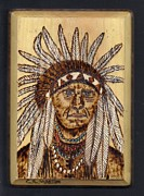 Indian Pyrography Framed Prints - Indian Chief 1 Framed Print by Clarence Butch Martin