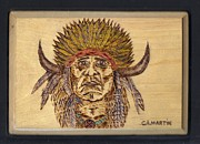 Indian Pyrography Framed Prints - Indian Chief 2 Framed Print by Clarence Butch Martin