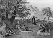 Colonial Man Prints - Indian Chief Informing Tribe Print by Photo Researchers