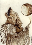 Wolves Pyrography Posters - Indian Chief with a Wolf Poster by Clarence Butch Martin