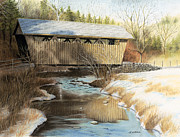 Snow Scene Pastels Posters - Indian Creek Covered Bridge Poster by James Clewell