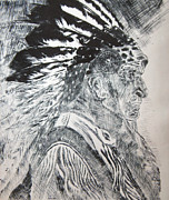 American Indian Reliefs Posters - Indian Etching Print Poster by Lisa Stanley
