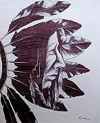 Indian Ink Prints - Indian Feathers Print by Michael  TMAD Finney