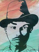 Freedom Fighter Drawings - Indian freedom fighter Saheed Bhagat Singh by Akhliesh Gupta