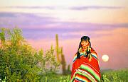 Southwest Landscape Metal Prints - Indian Full Moon Southwest Sunset Metal Print by James Bo Insogna