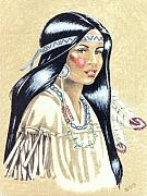Plains Indians Framed Prints - Indian Girl Framed Print by George I Perez
