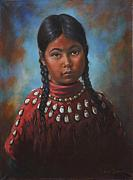 Indian Framed Prints - Indian Girl Framed Print by Harvie Brown
