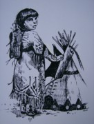 Tribes Drawings Framed Prints - Indian Girl Framed Print by Leslie Manley