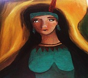 Reflection Harvest Paintings - Indian Girlfriend by Vickie Meza