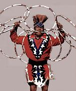 Native American Woman Framed Prints - Indian Hoop Dancer 3 Framed Print by Linda  Parker