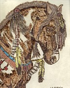 Indian Pyrography Framed Prints - Indian Horse Framed Print by Clarence Butch Martin