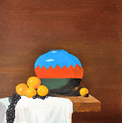 Blue Grapes Photos - Indian Jar with Oranges by Tom Amiss