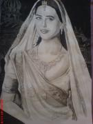 Lady In Red Drawings - Indian Lady by Sandeep Kumar Sahota