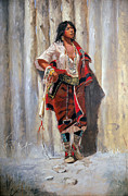 Native American Paintings - Indian Maid at Stockade by Charles Marion Russell by Pg Reproductions