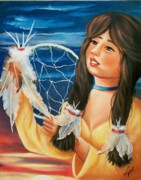 Dream Catcher Paintings - Indian Maiden with Dream Catcher by Joni McPherson