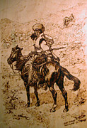 Watercolor  Pyrography - Indian on horse at mountain by Ghazi Toutounji