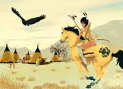 Horse Drawing Digital Art Posters - Indian On Horse Poster by Lynn Rider