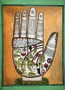 Palmistry Prints - Indian Palmistry Map Print by Victor De Schwanberg