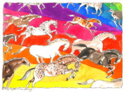 Indian Ink Mixed Media - Indian ponies  by Mary Armstrong