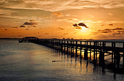 Melbourne Beach Prints - Indian River Pier Sunset Print by Cheryl Davis