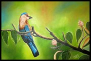 Usha Rai Art - Indian Roller or Blue Jay by Usha Rai