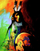 Native Art Paintings - Indian Shadows by Lance Headlee