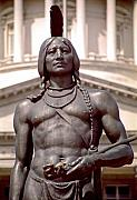 Steve Ohlsen Metal Prints - Indian Statue at Utah State Capitol Metal Print by Steve Ohlsen