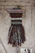 Black Art Tapestries - Textiles Prints - Indian Stone - Hand Woven Fiber Art Print by Karen Rester