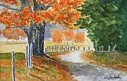 Autumn Country Road Posters - Indian Summer Poster by Ally Benbrook