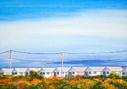 Trees Light Windows Prints - Indian Summer Days Cottages North Truro Massachusetts Watercolor Painting Print by Michelle Wiarda