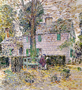 Clapboard House Photo Framed Prints - Indian Summer in Colonial Days Framed Print by Childe Hassam