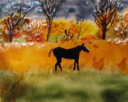Horse Glass Art - Indian Summer by Kim Lyon