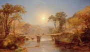 Reflecting Trees Paintings - Indian Summer on the Delaware River by Jasper Francis Cropsey