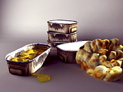Spicy Food Framed Prints - Indian Take-away Food, Artwork Framed Print by Christian Darkin