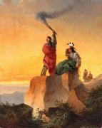 Setting Sun Art - Indian Telegraph by John Mix Stanley