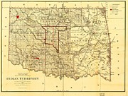1887 Drawings Prints - Indian Territory Print by Reproduction