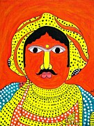 Tribal Art Paintings - Indian Tribal Man by Vamsi Maganti