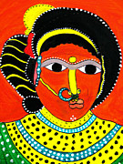 Tribal Art Paintings - Indian Tribal Woman by Vamsi Maganti