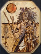 Indian Pyrography Framed Prints - Indian Warrior on Horse Framed Print by Clarence Butch Martin
