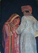 Indian Pastels Prints - Indian Wedding Print by Diane Breuer