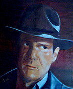 Raiders Paintings - Indiana Jones  Harrison Ford by Maureen Diehl