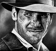 Indiana Drawings Metal Prints - Indiana Jones Metal Print by Rick Fortson