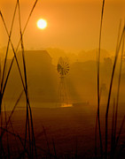 Indiana Photography Prints - Indiana Misty Sunrise Print by Lee Craig