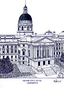 Indiana Images Mixed Media - Indiana State Capitol by Frederic Kohli