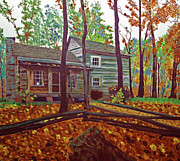 Log Houses Posters - Indiana Uplands Log Cabin Poster by Rich Walter